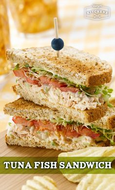 Tuna Fish Sandwich: Craving tuna but want a new sandwich option? Try this tasty recipe with tuna, sprouts, sliced tomatoes, salad greens and Marzetti Garden Herb Greek Yogurt Veggie Dip on your choice of bread.
