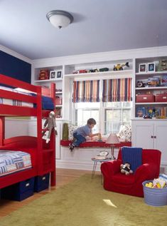 http://www.bhg.com/rooms/kids-rooms/boys/boys-room-to-grow-into/?page=3    great window wall