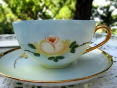 Vintage Teacup Tea Cup and Saucer Hand Painted by Holliezhobbiez, $15.00