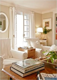 chairs, drapes, side table