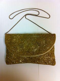 "Vintage Gold Beaded ""Walborg"" Evening Handbag-Clutch #Walborg #EveningBag"