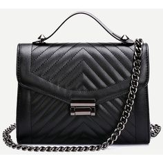 Black Quilted Envelope Bag With Chain (1,595 INR) ❤ liked on Polyvore featuring bags, handbags, shoulder bags, black, polyurethane bags, quilted chain bag, quilted chain handbag, quilted bags and chain purse