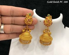 Online shopping from a great selection at Clothing, Shoes & Jewelry Store. Latest Earrings Design, Jewelry Design Earrings, Gold Earrings Designs, Gold Jewellery Design, Designer Earrings, Necklace Designs, Jhumka Designs, Fancy Jewellery, Small Gold Hoop Earrings