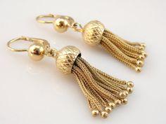 Antique Victorian Tassel Pendant Earrings Gorgeous by MSJewelers, $1485.00