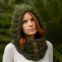 Hooded Cowl! Perfect! I never have a hood on my coats, and sometimes an umbrella is  really inconvenient... Like when I'm carrying groceries. Impossible.