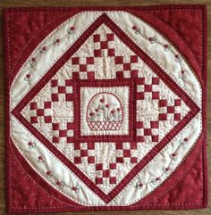 Red Button Quilt Company is a home based quilting pattern and kit business. Miniature Quilts, Miniature Dolls, Small Quilts, Mini Quilts, Red And White Quilts, Medallion Quilt, Quilted Table Toppers, Doll Quilt, Traditional Quilts