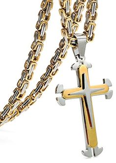 FIBO STEEL Stainless Steel Cross Pendant Mens Byzantine Chain Necklace Wide, inches -- To view further for this item, visit the image link. Men Necklace, Dog Tag Necklace, Pendant Necklace, Stainless Steel Jewelry, Byzantine, Jewellery Display, Cross Pendant, Black Silver, Jewelry Box