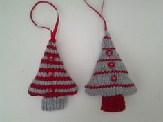 Knitted trees Christmas tree decorations with buttons in red and grey, my own festive design.