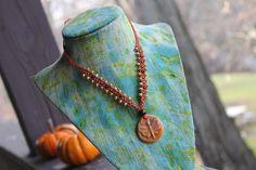 Micro Macrame Necklace Ceramic Beaded Jewelry by TheKnottyRatsNest