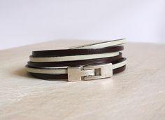 Design your own photo charms compatible with your pandora bracelets. Bracelet cuir marron et crème - 2 lanières 3mm - 3 tours - Bracelet cuir femme : Bracelet par bracelets-cu