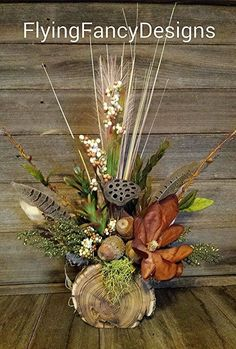 Rustic Reclaimed Wood Magnolia Feather Silk Dried Floral Flower Arrangement in Home & Garden Rustic Flower Arrangements, Fall Arrangements, Rustic Flowers, Floral Centerpieces, Dried Flowers, Silk Flowers, Bouquet Flowers, Art Flowers, Flowers Garden