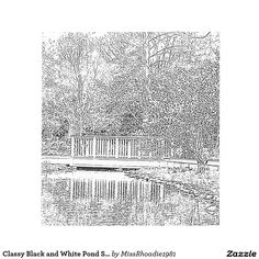 Classy Black and White Pond Sketch Scratch Pads