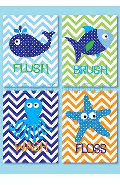 Kids Wall Art Sea Creature Bathroom print set by EllenCrimiTrent, $65.00