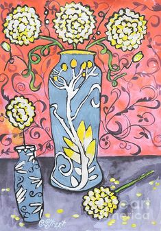 Art Deco Vase with Three Flowers. Mixed media on paper by Caroline Street.