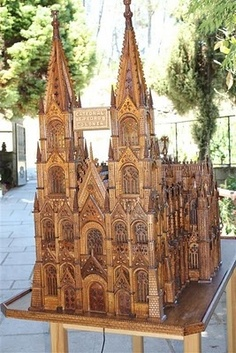 Cool! Woodworking, cathedral made of wood.