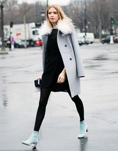 WHAT TO WEAR IN AUTUMN: Tailored coats with faux fur collars. They look great with a casual, relaxed pair of boyfriend jeans, but also with dresses, tights and boots. Wear an a-line or shift dress with boots and tights for a more smart casual look. To dress things up, opt for a more fitted dress and pop on your favourite heels!