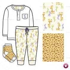 Infant Shirt, Pant and Socks Fashion Flat Template  $ 2.49  #illySTUFF  #illySCHOOL  #illyINSPO
