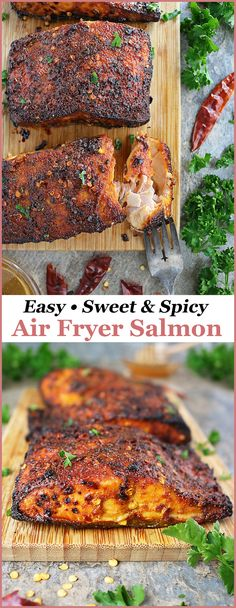Easy Sweet Spicy Air Fryer Salmon Recipe - Savory Spin Chili and honey intertwine deliciously in this crispy, Easy Sweet Spicy Air Fryer Salmon recipe. With just 6 ingredients, you can have this salmon on the table in less than 15 minutes. Air Fryer Recipes Salmon, Air Fryer Dinner Recipes, Air Fryer Oven Recipes, Baked Salmon Recipes, Seafood Recipes, Cooking Recipes, Healthy Recipes, Snacks Recipes, Chicken Recipes