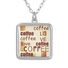 Coffee lovemodern  typography silver plated necklace - modern gifts cyo gift ideas personalize