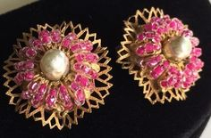 Exquisite Vintage Miriam Haskell Earrings~Pink Beads/Pearl/Gold Tone~Signed #MiriamHaskell