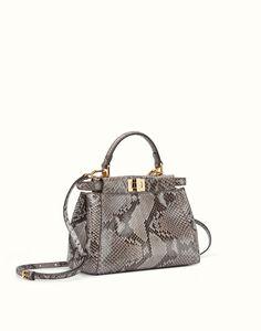 FENDI MINI PEEKABOO - Handbag in asphalt-grey python - view 2 detail