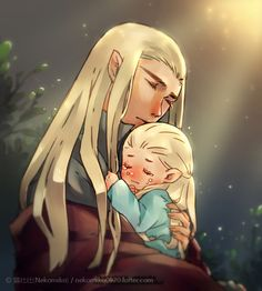 Thranduil and baby Legolas by nekomiko