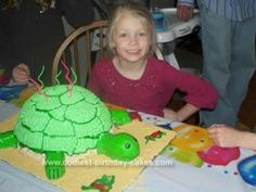 Homemade Turtle Cake Idea: When my daughter was turning 6 she wanted a Turtle Cake Idea, so I stacked two 10in round cakes on top of each other and shaped them like a ball then placed
