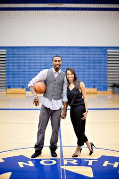 This is the general idea of my love and basketball theme wedding. Engagement Shoot - Brittany and Keith Fall Engagement, Engagement Pictures, Engagement Shoots, Engagement Photography, Wedding Photography, Engagement Ideas, Basketball Couples, Basketball Photos, Love And Basketball