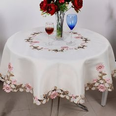 Diy Crafts - WLIARLEO Floral Tablecloth Round Embroidered Hotel Dining Table Cloth Dust proof Polyester table cloth tableclothes decoration-in Tablecl Dining Table Cloth, Round Dining Table, Cheap Tablecloths, Mantel Redondo, Butterfly Table, Floral Tablecloth, Cloth Flowers, Pink Daisy, Cutwork