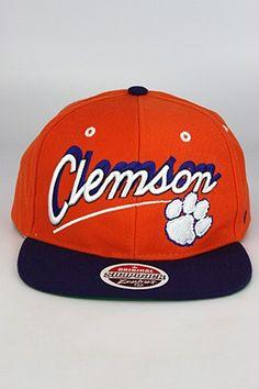 size 40 8dcff 70627 Zephyr Shadow Script Clemson University Tigers Snapback Hat Orange - Purple  - White