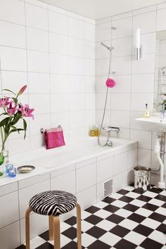 Bathroom: 50 Interesting Scandinavian Bathroom Ideas With Black And White Flooring And Flower Vase Design, modern bathroom, stylish bathroom design ~ Watsonrock Bad Inspiration, Bathroom Inspiration, Bathroom Furniture, Bathroom Interior, Entryway Furniture, Bathroom Remodeling, White Bathroom, Small Bathroom, Master Bathroom
