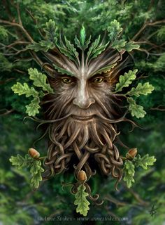 """The Green Man is a sculpture, drawing, or other representation of a face surrounded by or made from leaves. Branches or vines may sprout from the nose, mouth, nostrils or other parts of the face and these shoots may bear flowers or fruit. Commonly used as a decorative architectural ornament. It symbolizes rebirth, or """"renaissance"""", representing the cycle of growth each spring."""