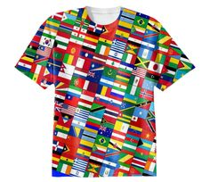 Shop WORLD FLAGS Cotton T-shirt by THE GRIFFIN PASSANT STREETWEAR (STREETWEAR) | Print All Over Me