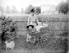 Vintage carriage and babies