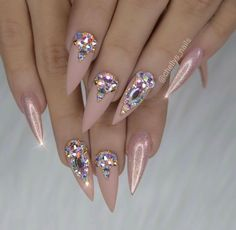 Blush base with crystal design - bling nail art