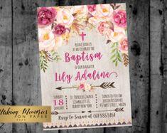 Invitación floral del bautismo. Flor gran por MakinMemoriesOnPaper