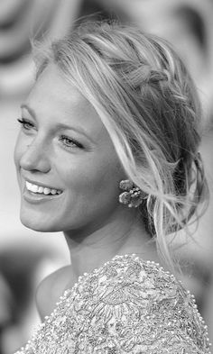 Blake Lively with a wispy updo with braid