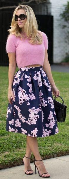 Navy/multi Floral Midi A-skirt