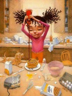 Black Art Excellence and Culture♥️✊ Black Love Art, Black Girl Art, My Black Is Beautiful, Art Girl, Black Pic, Black Girls, Beautiful Pictures, Frank Morrison, Natural Hair Art