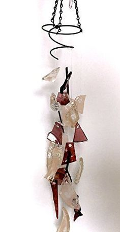 Tumbled sea glass wind chime in Pale Dogwood pink and translucent purple ** Find similar products by clicking the VISIT button