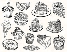 Hand Drawn Digital Cake Clip Art