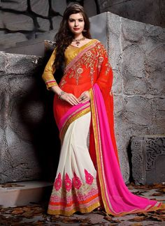 We unfurl our the intricacy and exclusivity of our creations highlighted in this style of a desirable multi colour faux georgette designer saree. The pretty embroidered and patch border work in the co...