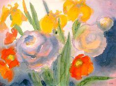 Emil Nolde, Irises Dahlias Poppies
