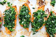 Baked Sweet Potatoes with Kale. Baked Sweet Potatoes with Garlicky Kale and Almond Butter. Vegan gluten free and packed with flavor! Sauteed Kale, Vegan Gluten Free, Gluten Free Recipes, Vegan Recipes, Vegan Food, Paleo, Onion Recipes, Sweet Potato Recipes, Mars
