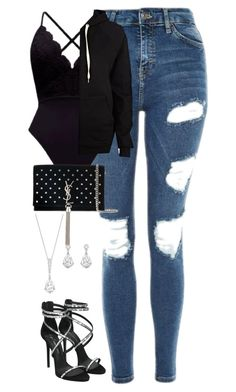 """""""Untitled #807"""" by ayalikeschicken ❤ liked on Polyvore featuring Topshop, Swarovski, River Island, Giuseppe Zanotti and Yves Saint Laurent"""