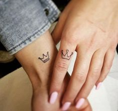 Exceptional tiny tattoos are readily available on our site. Check it out and you wont be sorry, you did. Distinctive tiny tattoos are available on our website. Test it out and … Crown Tattoos For Women, Tiny Tattoos For Girls, Small Couple Tattoos, Tattoos For Women Small, Couple Tattoo Ideas, Couple Ideas, Smal Tattoo, Small Crown Tattoo, Crown Finger Tattoo