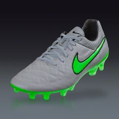 Nike Tiempo Legend V FG - Wolf Grey/Green Strike-Black - Silver Storm Firm Ground Soccer Shoes | SOCCER.COM