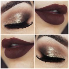 Agora uma combinação chiquérrima de marrom nos lábios com champanhe nos olhos. Não tem como errar! Gold Makeup, Skin Makeup, Makeup Geek, Makeup Tips, Fall Lip Color, Fall Eye Makeup, Photo Makeup, How To Make Hair, Beauty Make Up