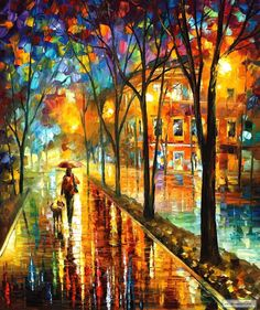 WALK WITH DOG — PALETTE KNIFE Oil Painting On Canvas By Leonid Afremov.