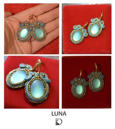 Earrings with cabochon Lunasoft of Soutache. Author Diana Kalinkina, Kiyv…